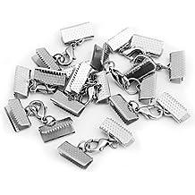 Skyllc® 10 x Cierre Conector Pinza Metal Color Plata Manualidades