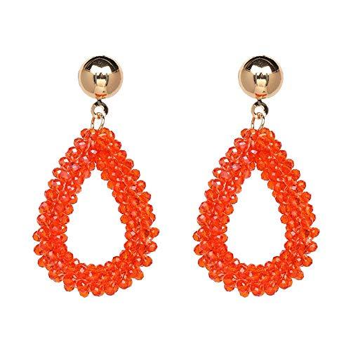 e,Damenmode Bunte Böhmen Ethnischen Lange Anhänger Wasser Tropfen Orange Ohrringe Für Handgefertigte Perlen Facettierte Crystal Earring ()
