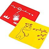 INCHANT Cartoon Animal Style enfants enfants silicone Set de table Tapis Sous-verre d'isolation Restauration de bureau Tapis pour enfants en bas âge de bébé - Paquet de 2