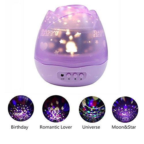 Sternenhimmel Projektor Lampe,KINGCOO Romantische Rose Form mit Farbe ändern Moon Stars Cosmos 360 Grad Rotation Projektor LED Nachtlicht für Kinder Geschenk Baby Mädchen Schlafzimmer (Lila)
