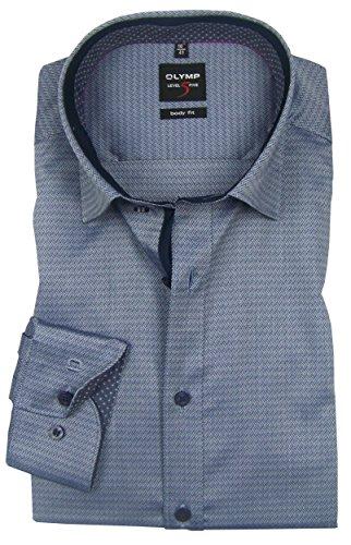 OLYMP Herren Business- und Freizeithemd mit Under Button Down Kragen Level Five Body Fit Schwarz -verschiedene Größen- Grau-Weiß
