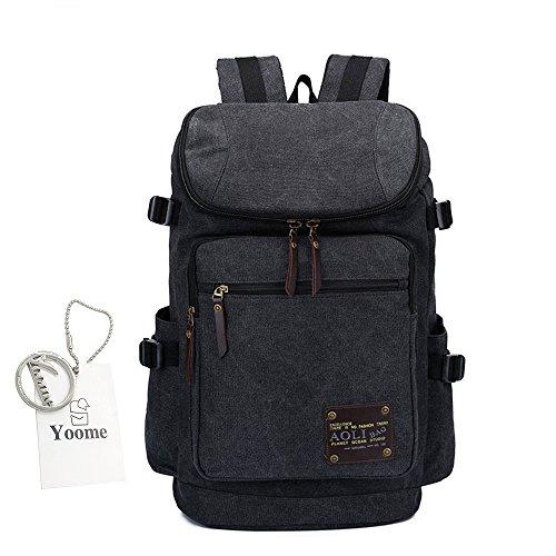 Yoome Retro Zaino da 16 pollici per Uomo Zaino Canvas Zaino Laptop Travel College Escursionismo Borsa Camping - Beige Nero