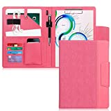 """Toplive Portfolio Case Padfolio, Executive Business Document Organizer with A4 Size Clipboard, Business Card Holder, Tablet Sleeve(Up to 10.5""""), Perfect for Business School Office Conference, Pink"""