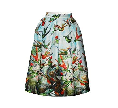 YYHSO Mode Damen Digitales Drucken Vögel Faltenrock Retro Eleganz Hohe Taille Eine Linie die Röcke, picture color, l
