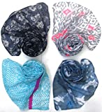Letz Dezine Printed Poly Cotton Set of four mullticoloured stoles ; Scarf and stole for women