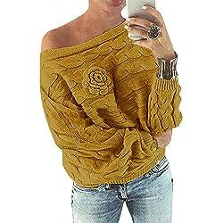 YOINS Pull Femme Sexy Manches Chauve-Souris Chandail Imprimé Aléatoire Floral Sweater Col Bateau Hiver, Jaune, L