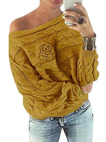 YOINS Schulterfrei Oberteile Damen Herbst Winter Off Shoulder Pullover Pulli für Damen Loose Fit mit Blumenmuster Gelb M