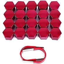 CLE DE TOUS - Kit de 20pcs 17mm Cromado Caperuzas Tapones Cubre Tapa Caps de Tuercas Pernos Tornillos para Rueda de Coche Llantas de Aleación y 2pcs Pinzas Herramientas para Extaer Color Rojo