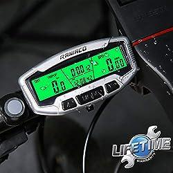 Raniaco Compteur Velo - sans Fils ou Cable, Rétro-éclairage LCD Multifonctions de Réveil Automatique Compteur de vélo Étanche Compteur Kilométrique Compteur Vitesse