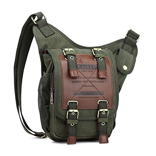KAUKKO Zaino da viaggio da escursionismo multifunzione vintage in tela pelle Borsa Marrone Army Green03