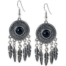 geralin Gioielli–Pendientes atrapasueños negro plata indios pendientes vintage