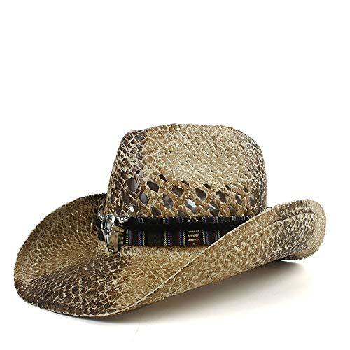 MUJUN 2019 Mode 2019 Unisex Western Cowboy Hut Sommer Cowgirl Jazz Hut Strand Sombrero Hombre Rettungsschwimmer Sonnenschutz Hüte (Farbe : Tan, Größe : 56-58CM) -