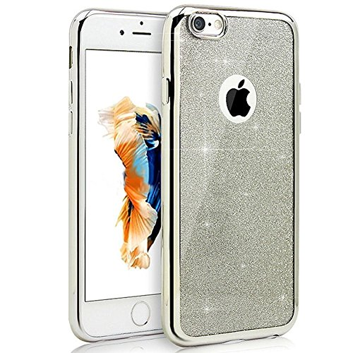 iPhone 8 Hülle,iPhone 7 Hülle,iPhone 8 / 7 Hülle Glitzer,JAWSEU iPhone 7 / iPhone 8 Plating Rose Gold TPU Bumper Case Soft Silikon Gel Schutzhülle,Shinning Glitzer Bling Weich TPU Schutzhülle Handy Ta Glitzer Silber