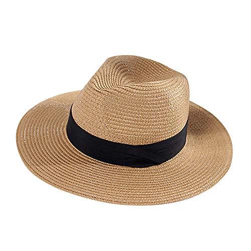 GAOXUQIANG Frauen Stroh Sommer Fedora, Panama Trilby Sonnenhut mit breitem schwarzem Band und breiterer Krempe,Brown