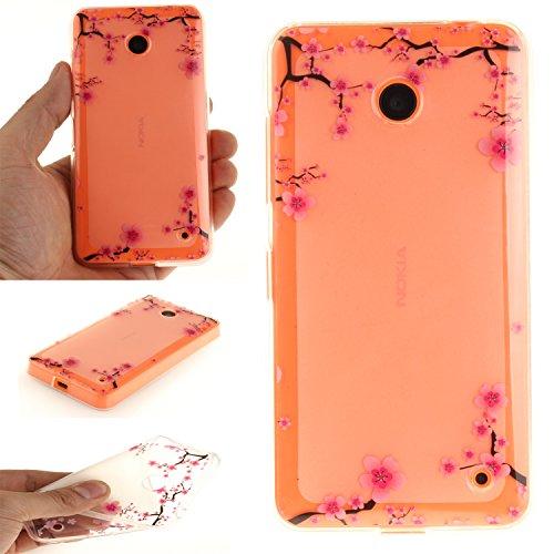 Lumia 630 Hülle, Lumia 635 Hülle, Case Handy Hülle Schutzhülle Handytasche Cover Case Weiche TPU Silikon, Anlike Schlank Flexibel Handy Tasche Malerei Muster Serie für [Nokia Lumia N630 / N635 (4,5 Zoll)] - Plum Blume Plum Handy