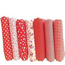 Souarts Fabric Bundles Quilting Sewing Patchwork Cloths DIY Craft Floral Fabric 25x25cm 7pcs