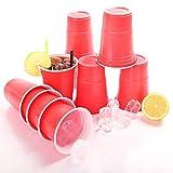 TRESKO Rote Partybecher 100 Stück | Beer Pong Party Cups | 473 ml (16 oz) | Bierpong Becher extra stark | Kunststoffbecher Plastikbecher Camping -