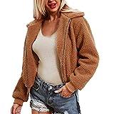 Hanomes Damen pullover, Damen Damen warme künstliche Wollmantel Reißverschluss Jacke Winter Parka Oberbekleidung