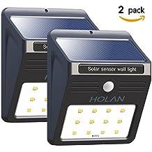 Solarleuchte mit Bewegungsmelder, Soft Digits 12 LED Solar Wandleuchte Bewegungssensor Solarlampe Wetterfeste Solar Außenleuchte,2 Packung