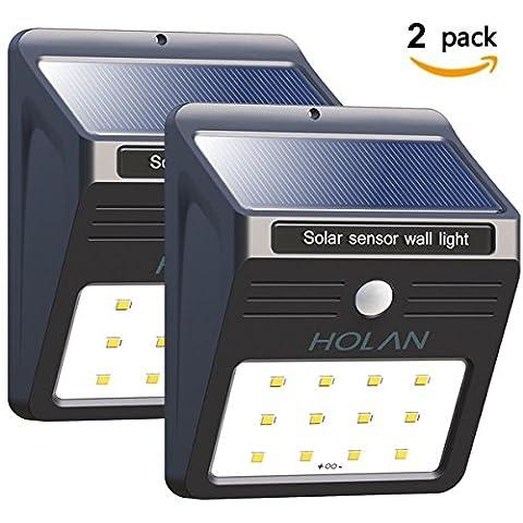 Solarleuchte mit Bewegungsmelder, Soft Digits 12 LED Solar Wandleuchte Bewegungssensor Solarlampe Wetterfeste Solar Außenleuchte,2
