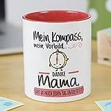 Gedankenwelt | Keramiktasse für Kaffee oder Tee | Originelles Geschenk für MÜTTER | Mein Kompass, mein Vorbild... danke Mama, dass du mich jeden Tag unterstützt! |Ideal als Muttertagsgeschenk | 100% mikrowellen- und spülmaschinenfest | Tasse mit lustiger Botschaft für Mütter | SCHÖN und EXKLUSIV | Glänzende SPEZIALGLASUR hoher Qualität | Spruch und kreatives Design auf der Oberfläche | Perfekt für jedes Getränk (Kaffee, Tee...)