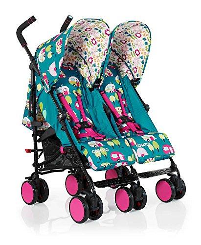 Cosatto Super Dupa Go - carrito gemelar, doble, para bebés verde Happy Campers