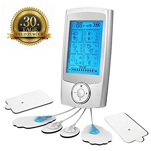 EXW TENS Einheit Elektrische Muskelstimulator Maschine mit 16 Massage-Modi, 6 wiederverwendbare Elektrodenpads, Dual Channel für Schmerztherapie und Schmerzlinderung