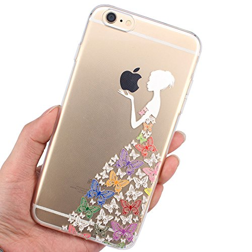 JIAXIUFEN Neue Modelle TPU Silikon Schutz Handy Hülle Case Tasche Etui Bumper für Apple iPhone 6 6S - Amüsant Wunderlich Design Giraffe eating Apple Color04