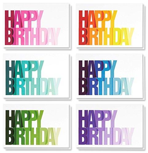 (Best Papier Grüße 48Stück Happy Birthday Note Karten Grußkarten, 6Rainbow Ombre Happy Birthday Designs, Bulk Box Set Vielzahl Sortiment, Umschläge enthalten 10,2x 15,2cm)