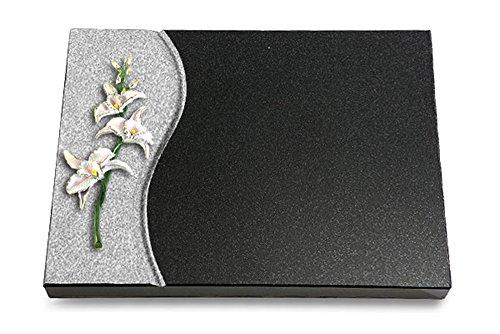 MEMORUM Grabmale Grabtafel, Grabplatte, Grabstein, Grabkissen, Urnengrabstein, Liegegrabstein Modell Wave 40 x 30 x 3-4 cm Indisch-Black-Granit, poliert inkl. Gravur (Bronze-Color-Ornament Orchidee) (Indische Orchidee)