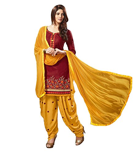 SareeShop Women's Cotton Salwar Suit Unstitched Dress Material(Femina-1005_Maroon & Yellow_ Free Size)