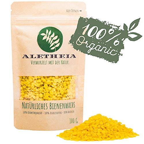 ALETHEIA Bio Bienenwachs Pastillen - 100g, 200g und 500g - Natürlich und Rein - Geeignet für Kosmetik, Handrceme, Kerzen, Bienenwachstücher, Holz-, Möbel-, und Lederpflege