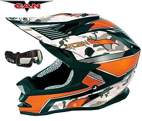 V-CAN V321Force New MX Moteur pour vélo de course Casque ACU or Orange et Noir pour masque de ski