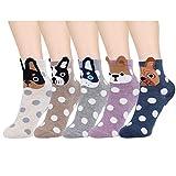 HONGXIN-SHOP Calcetines de Mujer Coloreados Algodón Calcetines Patrón de Perro Adulto Unisex Calcetines Térmicos 5 Pairs