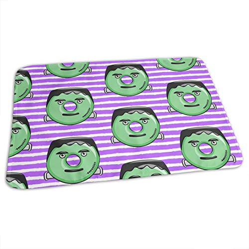 Frankenstein Donuts On Purple Stripes Halloween Baby Toddler Waterproof Washable Diaper Portable Reusable Changing Pad Mat 27.5 x19.7 Inch (Halloween Cartoon Frankenstein)