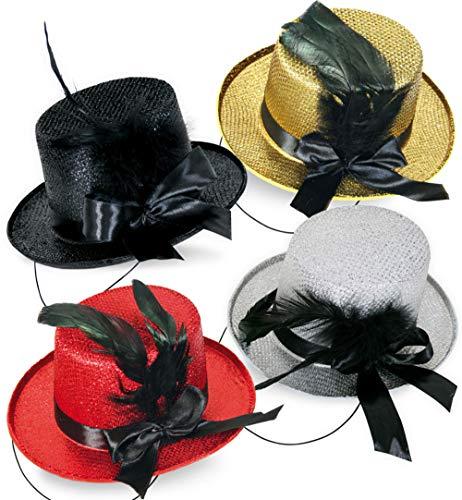 KarnevalsTeufel Mini-Zylinder, sortierte Farben, mit Schleife und Federn, Fascinator, Minihut (schwarz)
