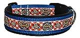 Ledustra Hundehalsband Alpenband-Rot Leder Nylon Halsband Klickverschluss (45-50 cm)