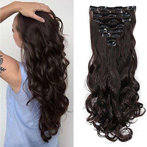 60cm extension capelli clip mossi ricci 140g full head 8 fasce con 18 clips capelli sintetici extensions - marrone scuro