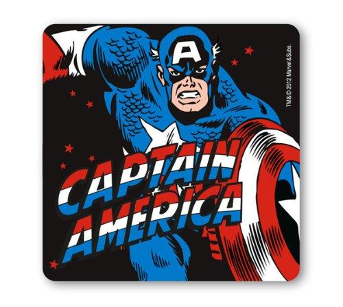 Untersetzer Captain America - Marvel Comics - schwarz - Bierdeckel - Lizenziertes Originaldesign - LOGOSHIRT (Captain America Comics Kostüme)