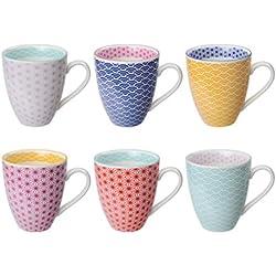 Tokyo Design Studio Star Wave Tassen Set aus hochwertigem Porzellan. 6-er Set Tassen mit Henkel. Jede Kaffeetasse / Teetasse fasst 300 ml. Modernes Muster. Spülmaschinenfest. Mikrowellengeeignet.