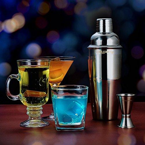 Cocktail Set Cozypony Edelstahl Cocktailshaker Mixer mit Sieb Cocktail Shaker mit Messbecher