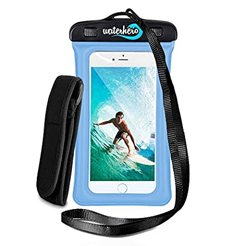 WaterHero® Universal Floatable Waterproof Case ✪ Built in AUDIO-JACK ✪ Waterproof to 100ft/30m deep. Durable Touch Responsive Waterproof Case for Swimming, Skiing, Camping, Hiking, Kayak, Rafting, Fishing, Scuba Diving, Travel, Beach, Holiday Essentials Equipment Accessories. Premium Dry Bag Cover Pouch. Fits All Mobile Phones. Lifetime Warranty.