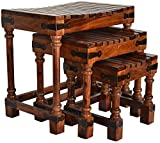 JS Home Décor Nesting Table For Living Room Set of 3 Stools