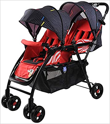 QZX Cochecito Ligero para Silla de Paseo tándem, diseño Plegable de Viaje, Cochecito Doble para sombrilla con arnés de 5 Puntos, toldo Solar para bebé
