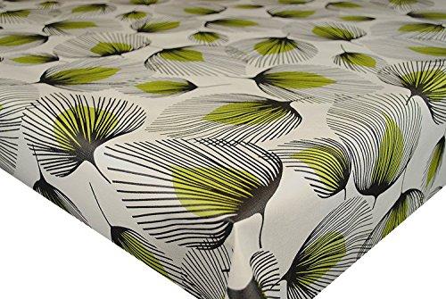 PVC Tischdecke grün Federn 2m (200cm x 140cm), große Blatt, bleibt, Schwarz Grün Creme Creme, Vinyl/Kunststoff Tischdecke (Tan Kunststoff Tischdecken)
