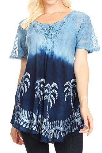 Sakkas 18713 - Magda Womens Kurzarm Flare Bohemian Bluse Top Spitze Batik gedruckt - Sky Blue - - Einfache Womens Kostüm