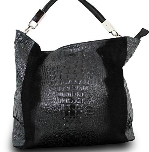 Fabriqué en Italie Luxe Sac bandoulière pour femme Nubuck Cuir Véritable alligator Stamp Noir