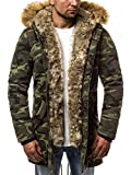 OZONEE Herren Winterjacke Parka Jacke Kapuzenjacke Wärmejacke Wintermantel Coat Wärmemantel Warm Modern Camouflage Täglichen 777/147K GRÜN-CAMO 2XL