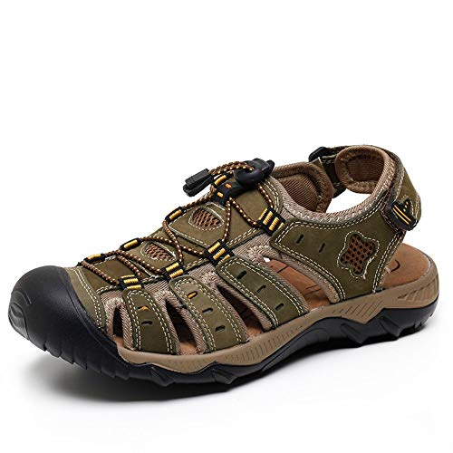 YYAMO Sandalen aus echtem Leder Mode Sommer Strand atmungsaktiv Herren Sandale Herren Kausal Schuhe Plus Größe 39-48, Outdoor Sport Wandern, grüne Sandalen, 47,28,5 cm