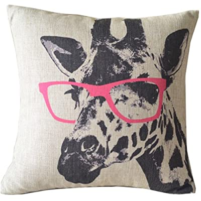 "Cartoon Giraffe Pink Glasses Cotton Linen Sofa Decor Throw Pillow Covers Pillowcase Sham Decor Cushion Cover Slipcovers Square 18x18 Inch 18"" Only Cover No Insert"